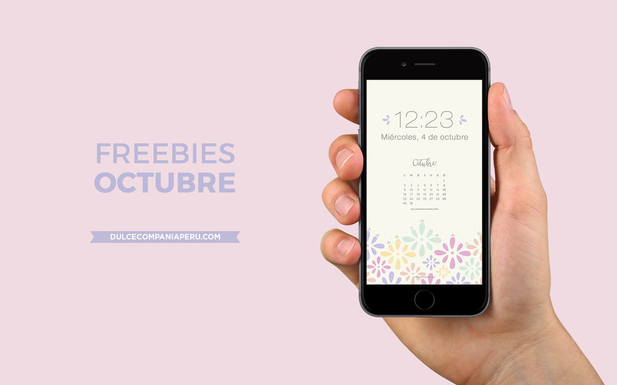 Mockup wallpaper Happy Days para freebies de octubre