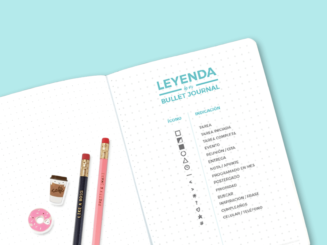 Mockup leyenda bullet journal lapices frankie & claude