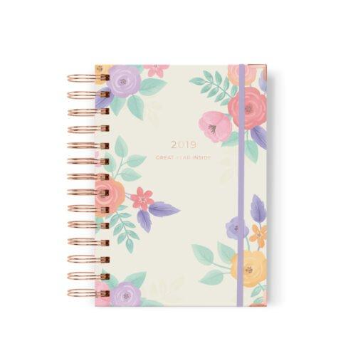 Agenda Diaria 2019, Diseño Floral, Anillado, Dulce Compañia