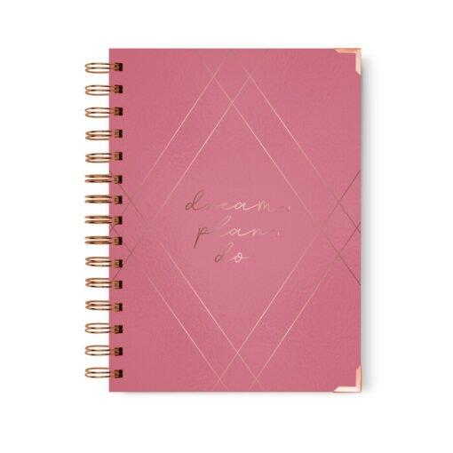 Diario agenda Rosada, Rose gold Foil, Anillado , Dulce Compañia