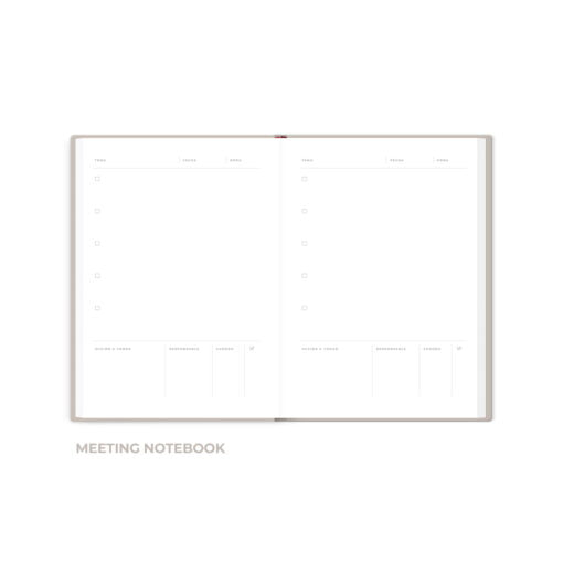 Interior de cuaderno The Foil Lab diseño Meeting Notebook